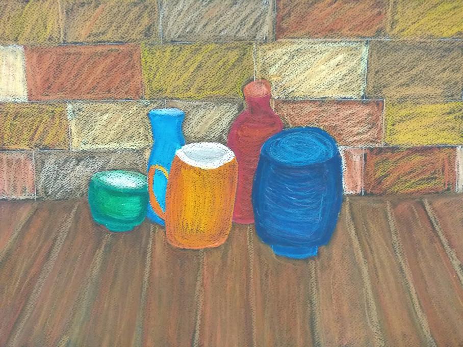 Still Life in Oil Pastels by Ava