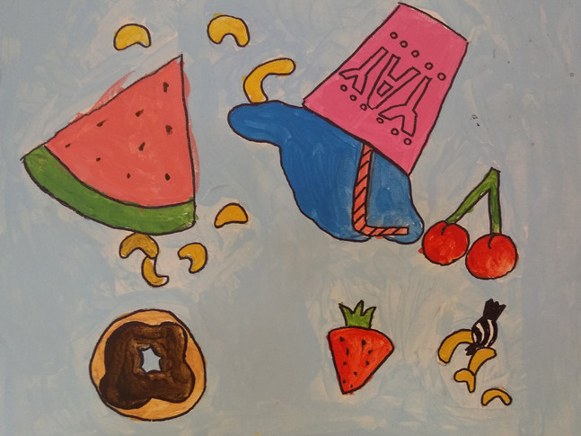 Shapes in food painting by Rosie