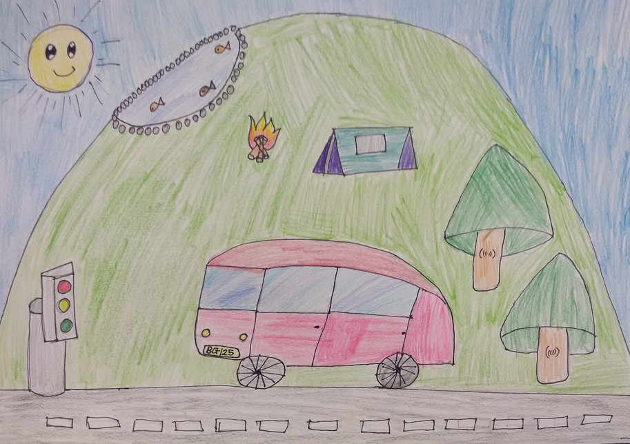 Forms in Landscape Drawing by Radhika
