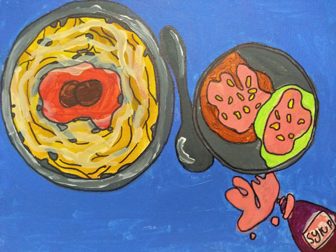 Shapes in food painting by Miki