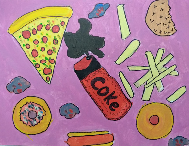 Shapes in food painting by Emma G