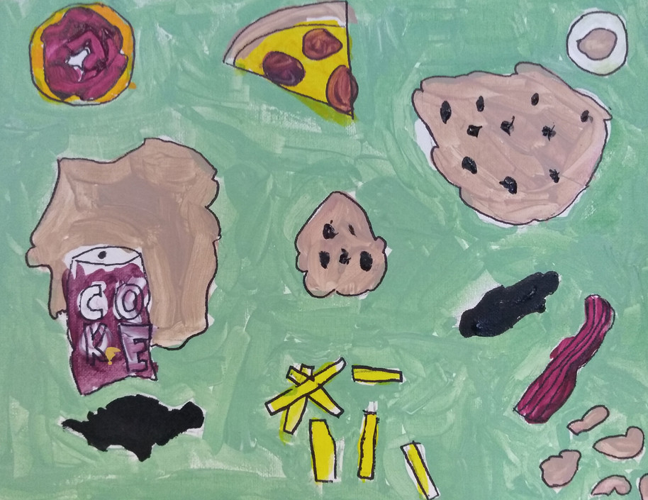 Shapes in food painting by Tom