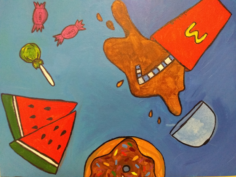 Shapes in food painting by Harmina