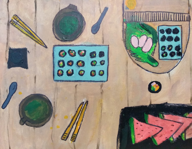 Shapes in food painting by Zoe M
