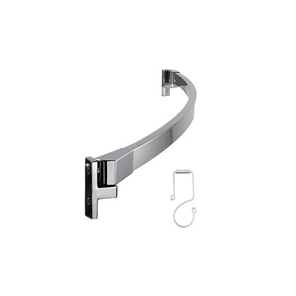 Rectangle Adjustable Curved Shower Rod Kit With Shower Rings