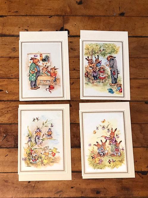 German Handprinted cards on silk