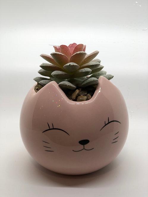 Cat pot with faux succulent