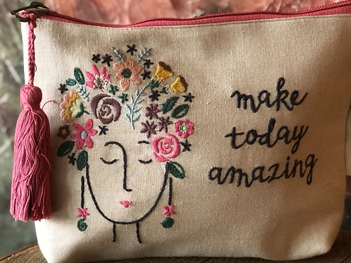 Make Today Amazing linen pouch