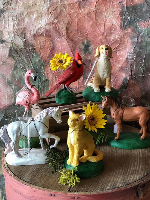 Animals with Petite Glass Vase