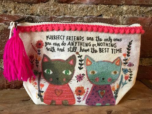 Purrfect Friends zippered pouch