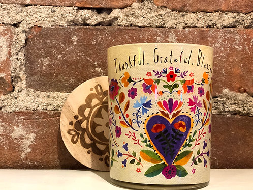 Thankful, Grateful, Blessed candle