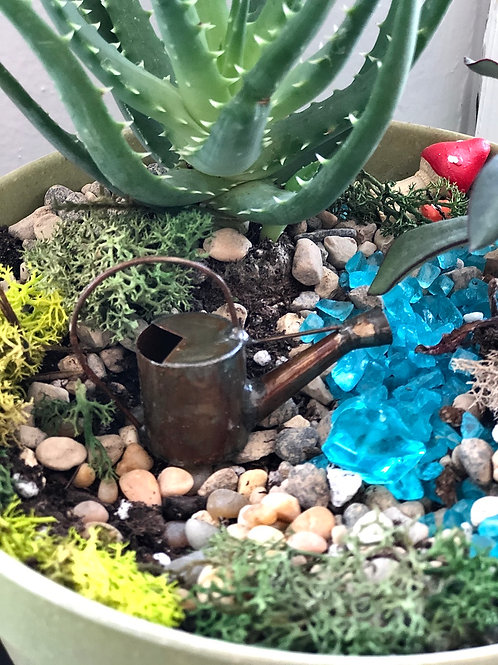 Fairy garden watering can