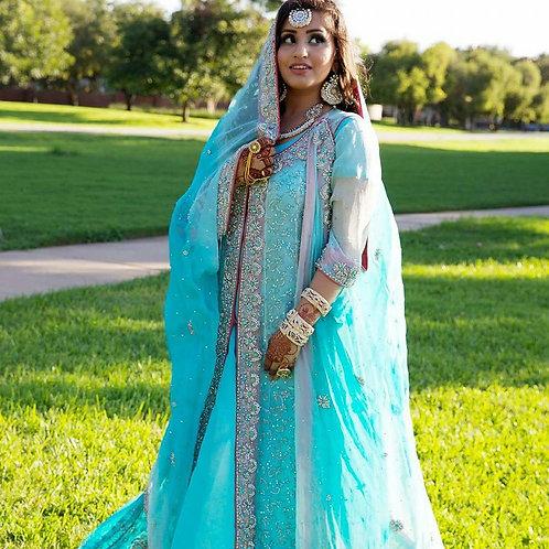 Sky Blue coat style bridal