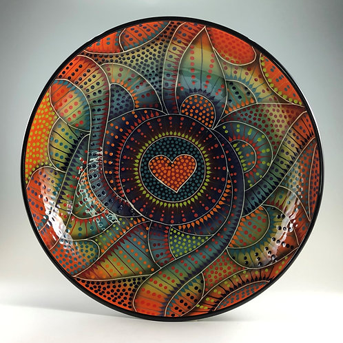 """14"""" Crazy Carved Heart Shallow Bowl"""