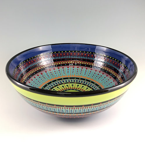 "12"" Multi Stripe Double Sided Bowl"