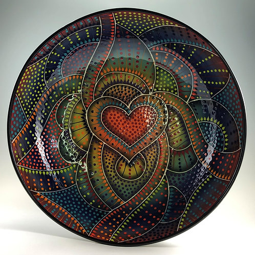 "14"" Crazy Carved Heart Shallow Bowl"
