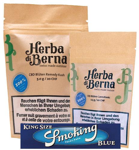 Bundle mit Cannatonic - 2.5g + Remedy Kush - 5g + 1 Packung Smoking Papers Blue