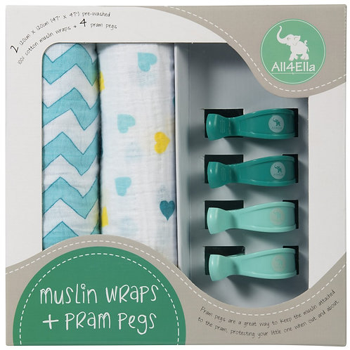 2 Pack Wraps & 4 Pram Pegs – Hearts & Chevron Turqoise