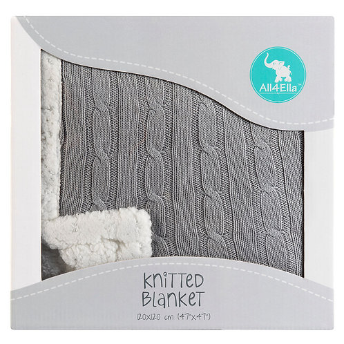 Knitted Baby Blanket – Grey