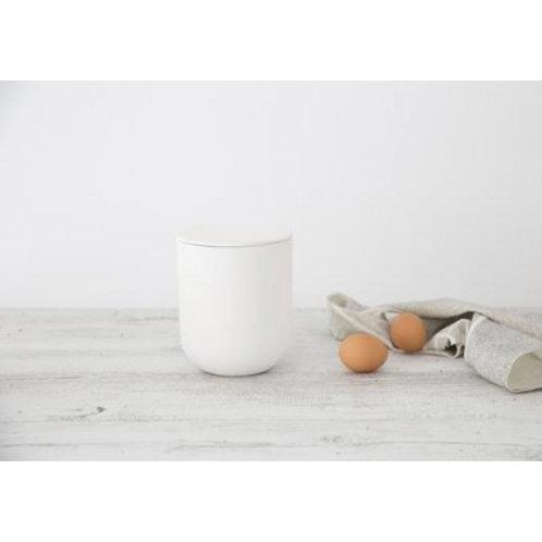 Flax Jar w Lid snow white