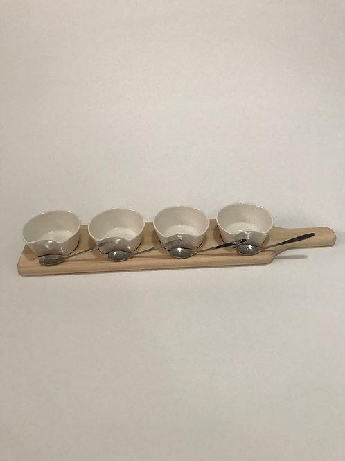 Timber & Glass 4 Dip Dish Server
