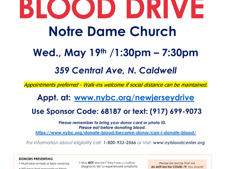 Blood Drive in North Caldwell - May 19, 2021