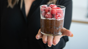CHOCOLATE MOUSSE WITH RASPBERRIES AND COCONUT