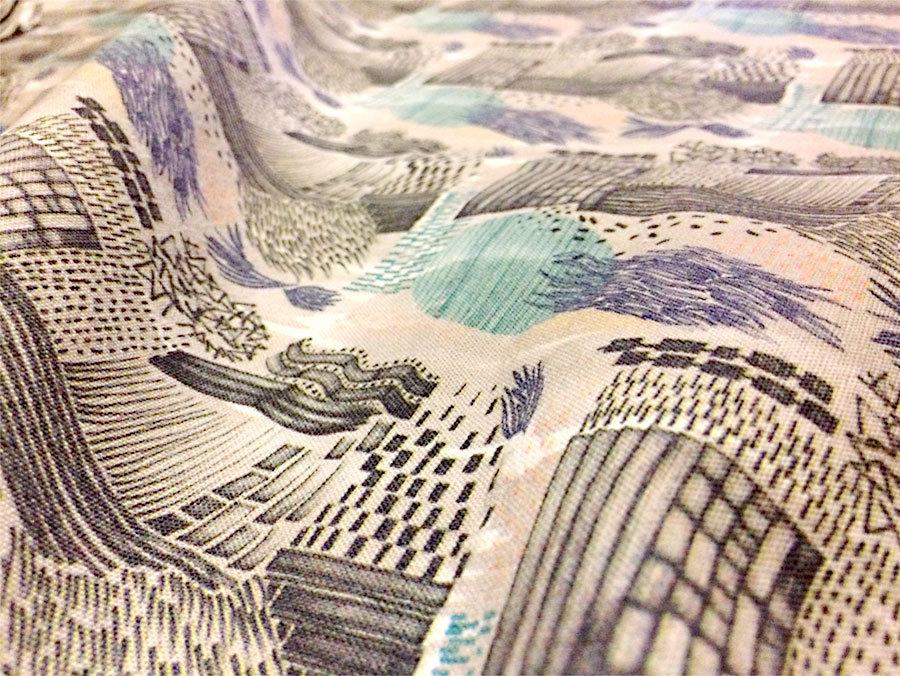 Silja Levälampi, Kaktus pattern digi printed on linen-cotton blend