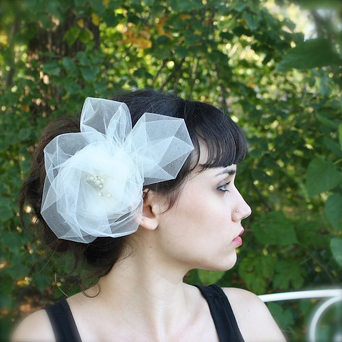 tulle and pearl flower