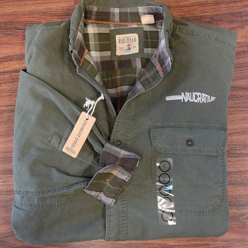 Embroidered Flannel-Lined Shirt