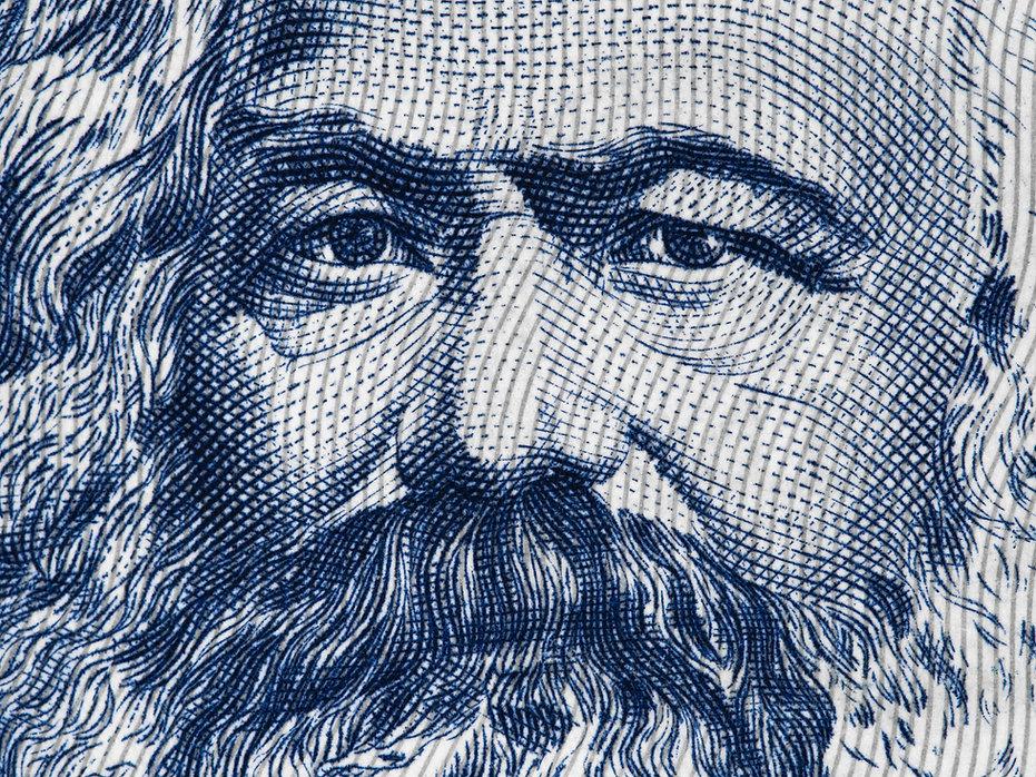 Karl Marx portrait on East German 100 ma