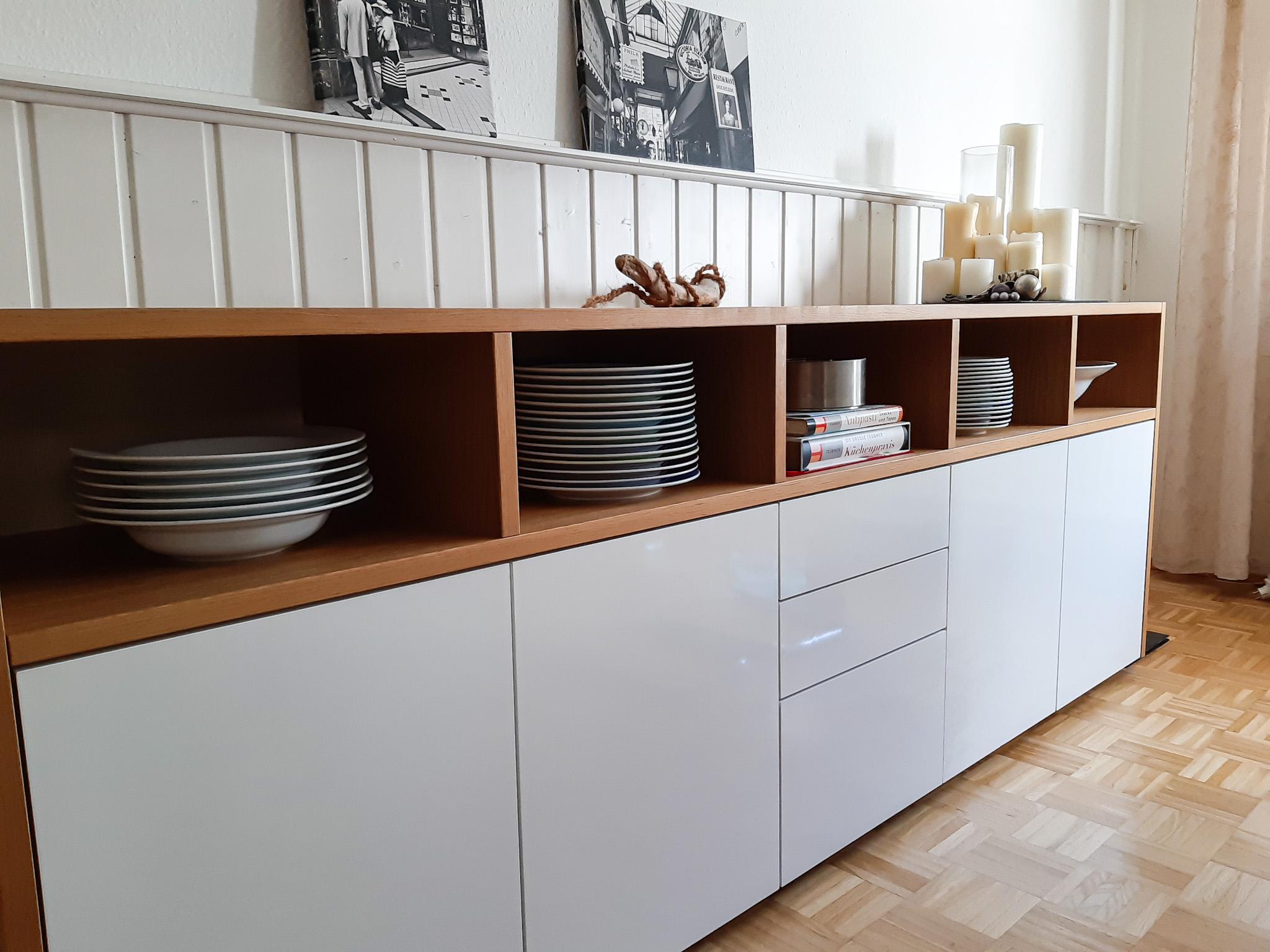 Sideboard Weißlack/Eiche