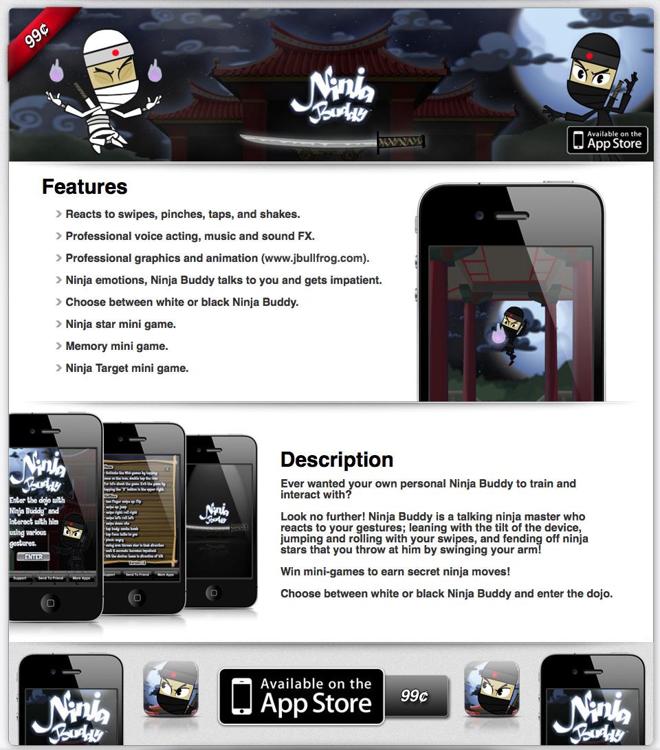 Ninja Buddy App Page