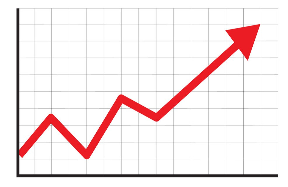 Graph arrow going up increase leads