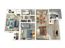 950 two-bedroom one-bathroom apartment layout