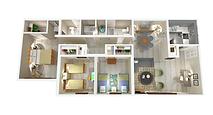 1300sqft three-bedroom two-bathroom apartment layout