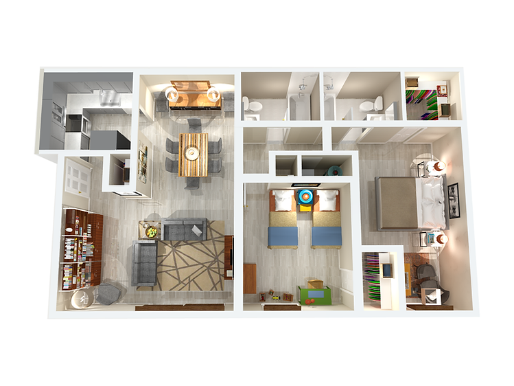 2 bedroom 2 bathroom 1025 sqft apartment