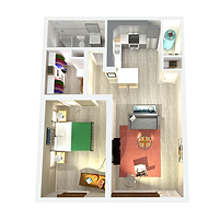 750sqft one-bedroom apartment layout