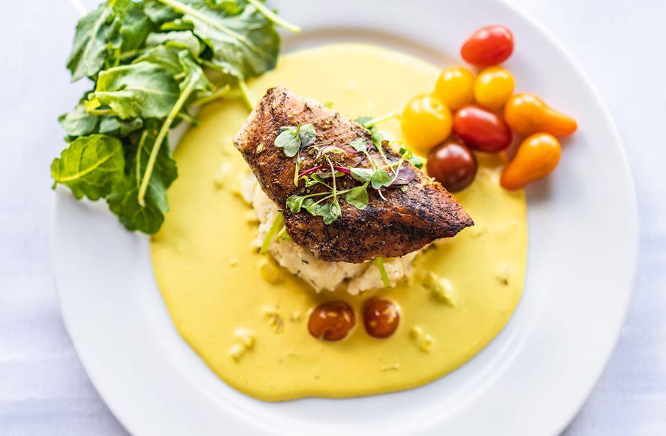 Crispy skin free range chicken breast. Sauteed kale, Greek mashed potato, mustard cream sauce