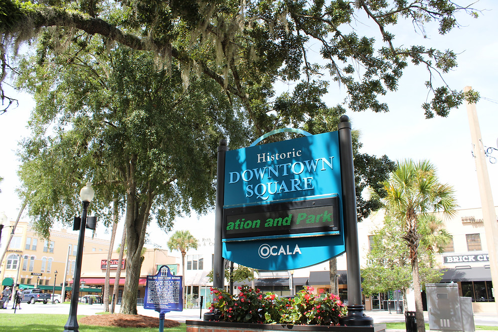 Sign of Historic Downtown Square in Ocala FL