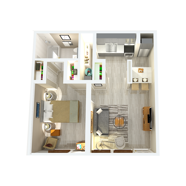 550 sqft one-bedroom apartment