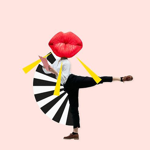 Dancing office woman in classic suit lik