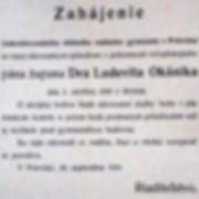Plagát pozývajúci ľudí z Prievidze a jej okolia na slávnostné otvorenie Československého štátneho reálneho gymnázia Franka Sasinka.
