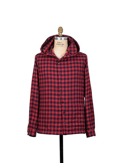 BLACKBIRD / hooded slant shirt -cotton herringbone -