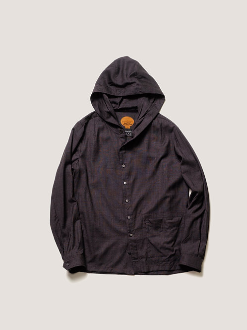 BLACKBIRD / hooded slant shirt - fabric with DORMEUL -