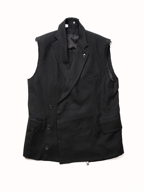TAKAHIROMIYASHITATheSoloist. / sleeveless winding notched lapel blazer.