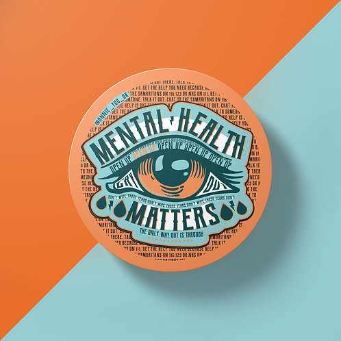 Mental Health Matters Orange Sticker