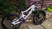 Specialized Purple Status downhilll mountain bike after Archie worked his magic on the design and build