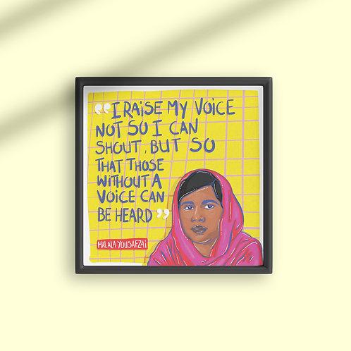 Malala Quote Square Poster
