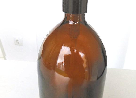 Frasco de vidro âmbar 1L com dispensador preto